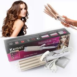 Kemei profissional cuidados com o cabelo & ferramentas de estilo curling modelador de cabelo onda curling ferros cabelo crimper krultang ferro 5