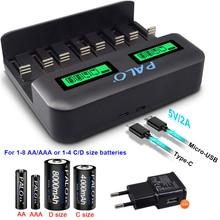 PALO 8 فتحات شاشة الكريستال السائل USB شاحن بطاريات ذكي ل AA AAA SC C D حجم بطارية قابلة للشحن 1.2 فولت Ni mh Ni CD شاحن سريع