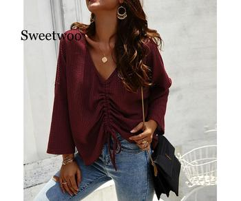 Lace Up Women Casual Loose Tops Pullover 2020 Autumn Winter Sweaters Female Solid Sexy V Neck Long Sleeves Fold Knitted Sweaters black v neck long sleeves loose plunge knitted sweaters