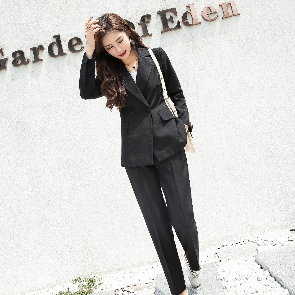 Drop Shipping Double Breasted White Women Pant Suits Notched Collar Blazer Jacket&Straight Pants Office Ladies Female Sets