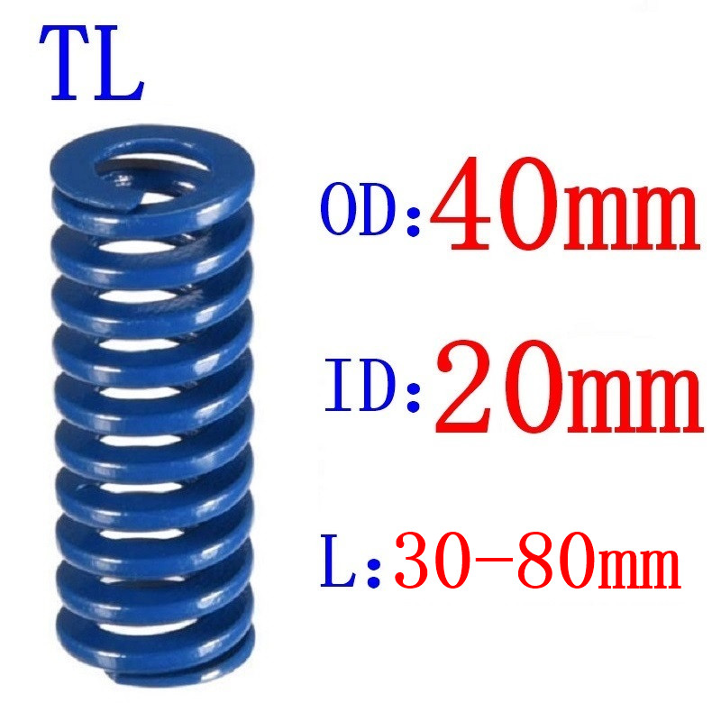 Venda quente 1 pces od 40mm id 20mm comprimento 30-80mm azul luz carga espiral estampagem compressão morrer primavera helicoidal