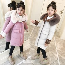 2019 New Fashion Baby Girls Clothes Winter Warm Down Cotton Jackets Overalls For Thickening Hooded kids