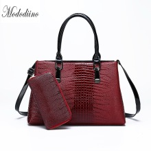 Mododiino Women Handbag 2 Sets Crocodile Pattern Shoulder Bag Purses And Handbags Leather Crossbody Ladies Hand Bags DNV1179