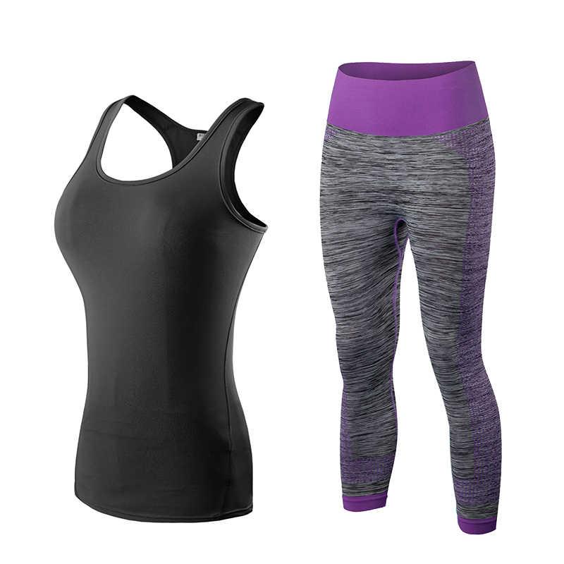 Hot kobiet zestaw do biegania kamizelka + spodnie sport garnitur Fitness rajstopy Top stroje do biegania dla kobiet siłownia dres joga Quicn pranie odzieży sportowej