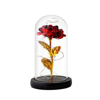 Rose in gold foil with lamp glass cover rose red LED rose with Glass cover festival decoration romantic gift Artificial flowerG3