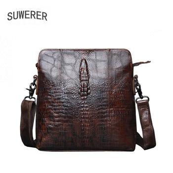 SUWERER 2020 New Genuine Leather bag Crocodile pattern cowhide men leather mens messenger shoulder casual