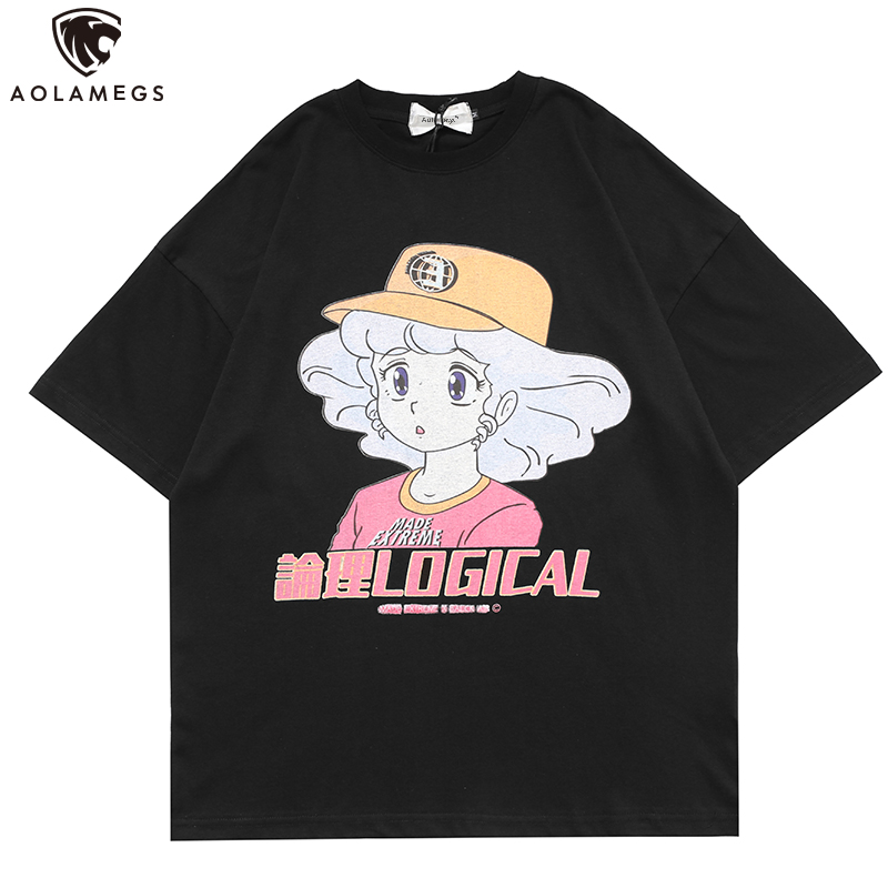 Aolamegs T Shirt Men Kanji Cartoon Comics Print Casual Harajuku Hip Hop College Style Couple Streetwear Summer 3 Color Optional