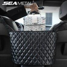 Car Handbag Holder Luxury Leather Seat Back Organizer Mesh Large Capacity Bag Automotive Goods Storage Pocket Seat Crevice Net