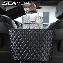 Voiture support de sac à main de luxe en cuir siège arrière organisateur maille grande capacité sac automobile marchandises stockage poche siège fente Net