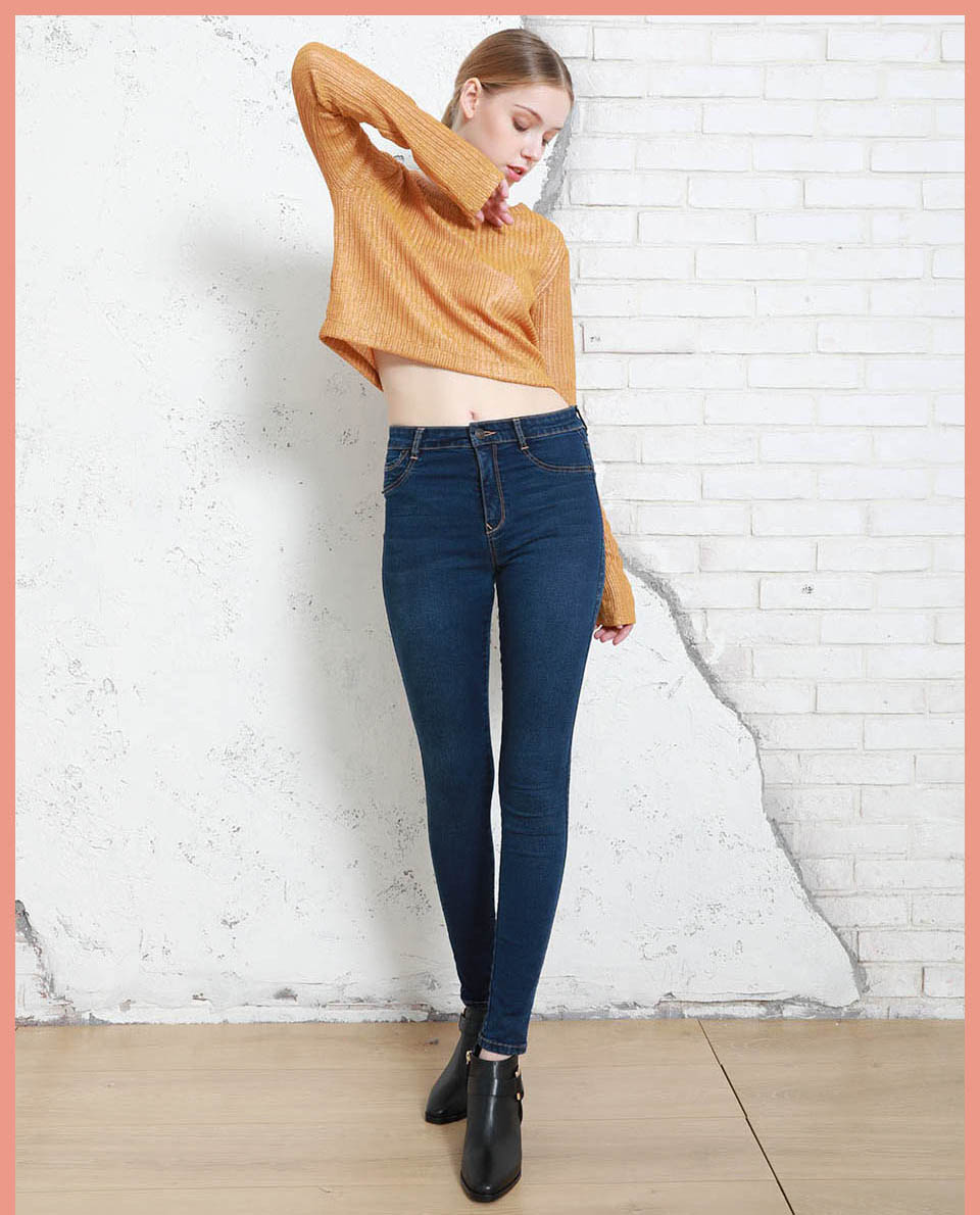 Autumn Winter Women Denim Skinny Pants Super Stretch Fake Front Pocket Waist Blue Grey Black White Slim Elastic Lady Jeans 4