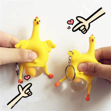 New Funny Spoof Tricky Toys Key Ring Chicken Egg Laying Hens Keychain Reduce Stress Add Fun To A Boring Life Creative Gifts(China)