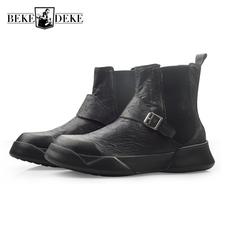 Winter Mens Gothic Thick Platform Shoes Genuine Leather High Top Slip On Chelsea Boots Fashion Biker Combat Boot Safety Shoes