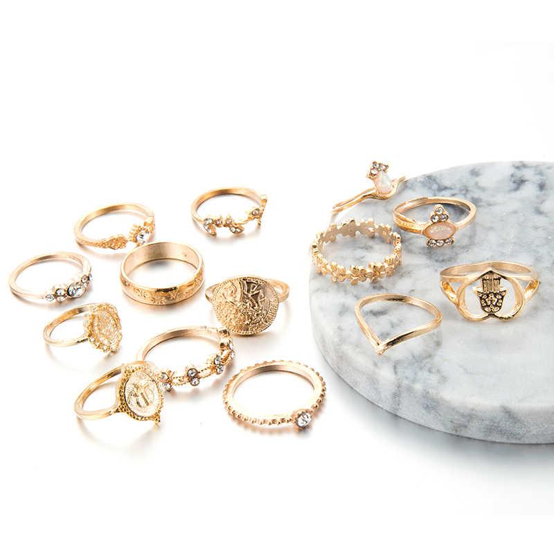 Tocona 15 Pcs/set Bohemia Women Fashion Heart Fatima Hands Virgin Mary Cross Leaf Hollow Geometric Crystal Ring Set Jewelry 7056