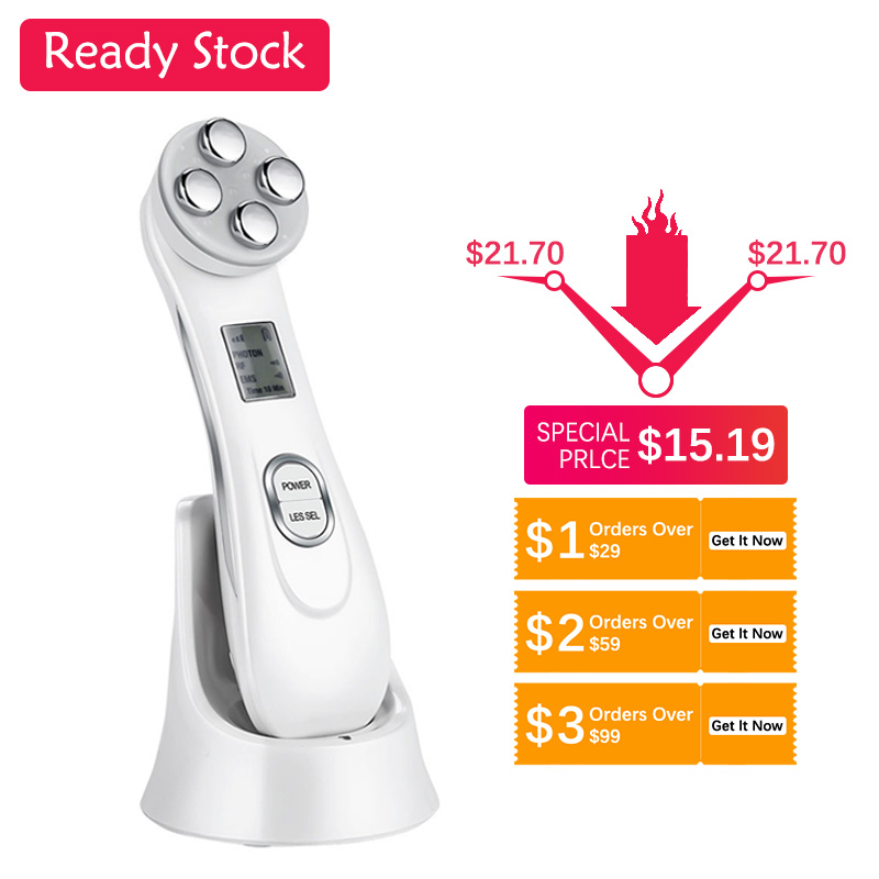 Radiofrequency Skin Tightening 5 In 1 Facial Lifting LED Photon Anti Aging Device Blackhead Acne Wrinkles Reduce Skin Care Tools