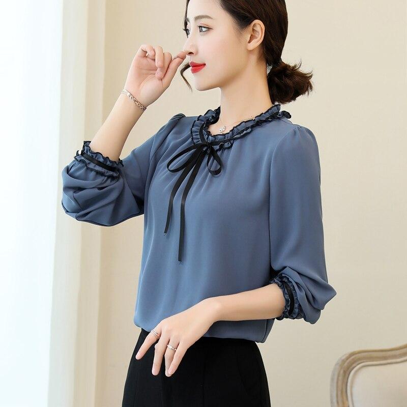 Koszule damskie elegancka jednolita, z marszczeniami
