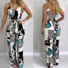 Women Jumpsuit Summer Sexy Sleeveless Spaghetti Strap Female Bodysuit Casual Loo