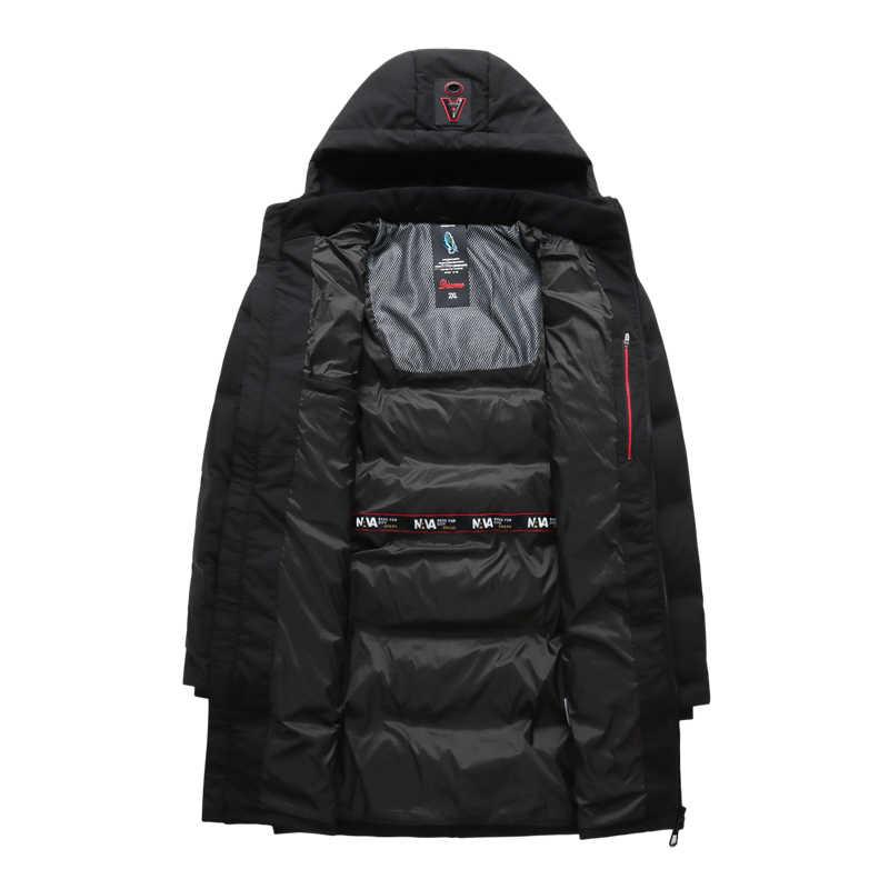 뉴 플러스 사이즈 10xl9xl 방풍 두꺼운 겨울 남성 다운 재킷 브랜드 의류 후드 블랙 긴 따뜻한 화이트 오리 자켓 남성 다운