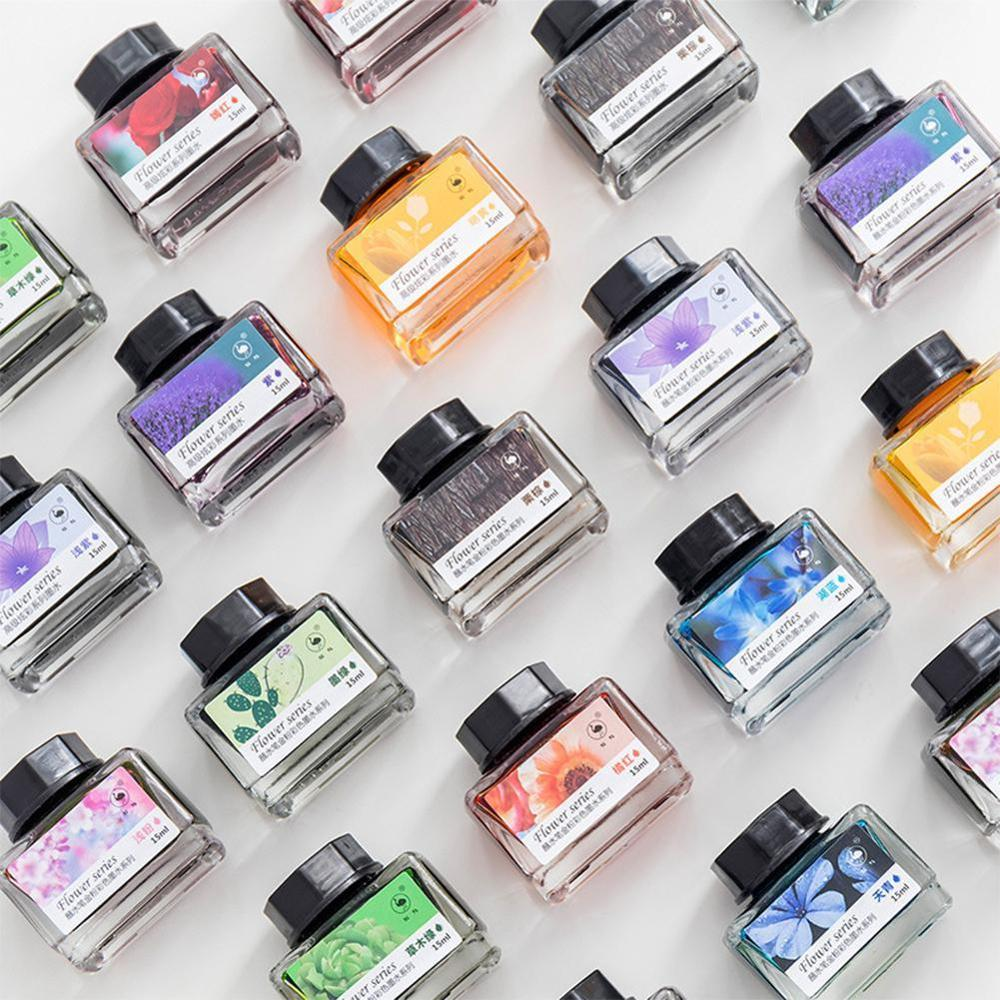 Ostrich Color Glass Ink 12 Colors Ink For Dip Pen Ink Non-carbon Water Non-blocking 15ml With M2H7