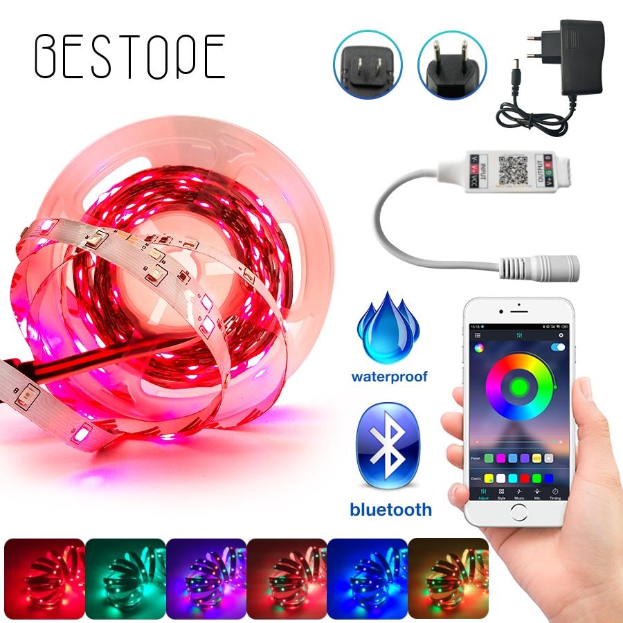 Bluetooth LED Strip Light RGB 5050 SMD 2835 Flexible Ribbon Waterproof RGB LED Strip 5M 10M Tape Diode DC 12V Bluetooth Control