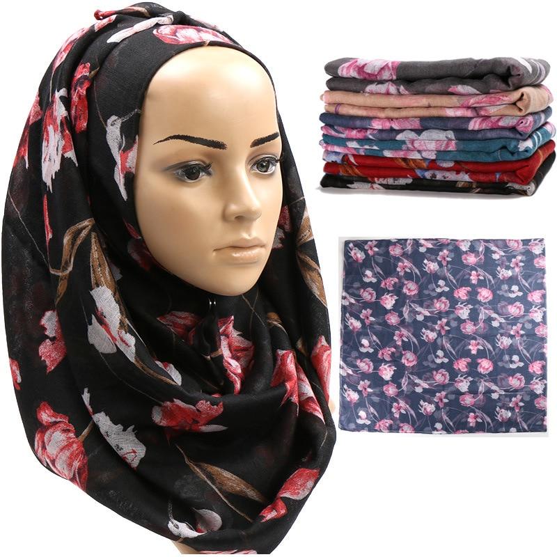 New Trendy Printed Viscose Woman Hijab Scarf Autumn And Winter Shawl Long Muslim Patterened Hijabs Islamic Foulard Bandana