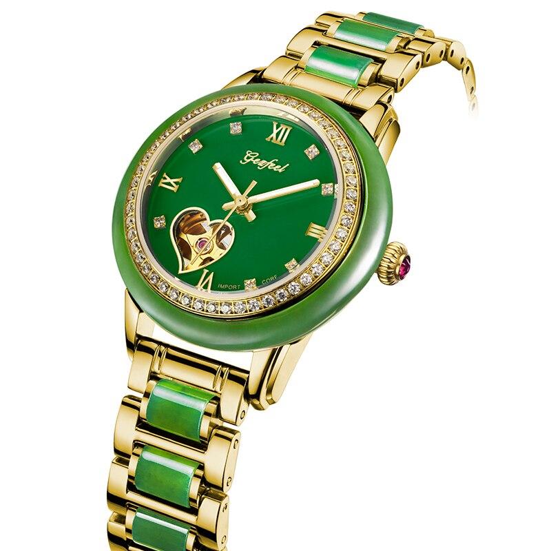 GEZFEEL luxury brand ladies mechanical watch jade strap Women watches fashion waterproof wristwatch Reloj mujer + caja de madera