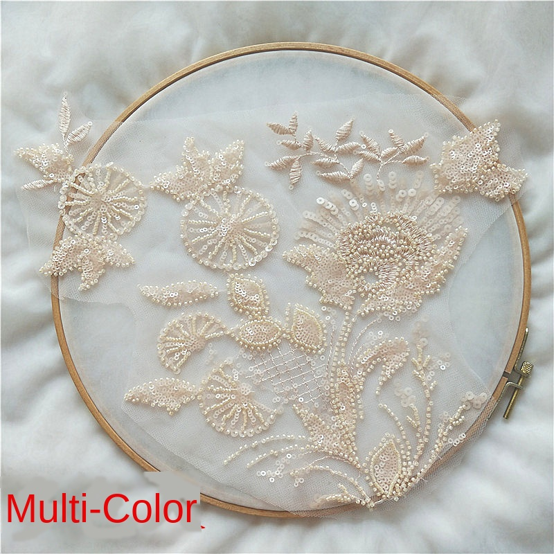 Big Windmill Nail Bead Sequins Lace Applique Wedding Dress Children's Clothing  Handmade DIY Accessories Accessories Decoration