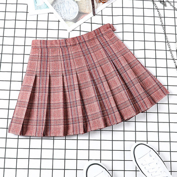 New Autumn Skirt for Women Harajuku Skirts Cotton Loose Button Pleated Skirts Vintage Plaid Skirts Female School Girl Skirts фото