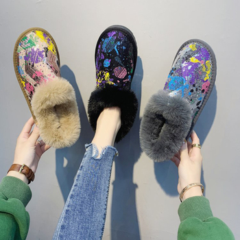 Womens Winter Warm Snow Boots Ladies Vogue Printed Flock Fur Waterproof Snow Boots Shoes Women Cold Weather Ankle Boot цена 2017