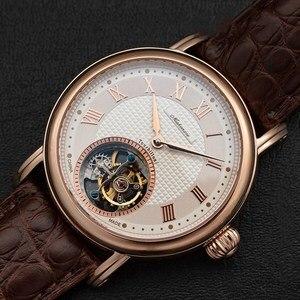 Image 2 - ספיר חיוג Mens Tourbillon שעונים מקורי ST8000 תנועה תנין עור גברים מכאני שעון יד למעלה מותג
