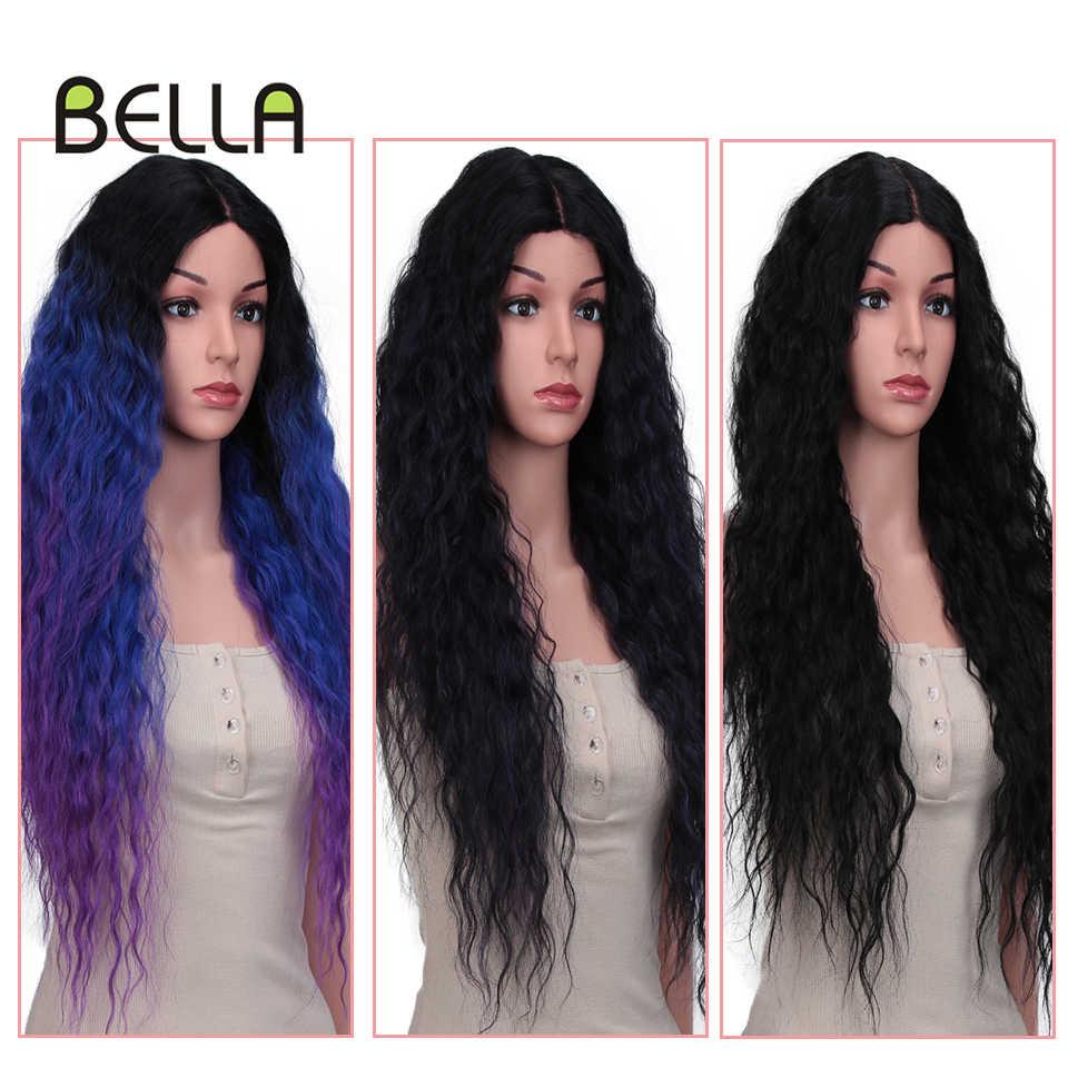 "Bella cosplay peruca sintética kinky curly destaque misturado roxo azul preto cor 28 ""longo peruca de renda sintética festa diária cosplay"