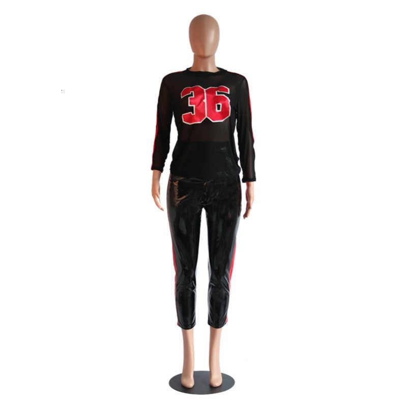 Mode Nummer Afdrukken Perspectief Top En PU Broek 2 Delige Set Vrouwen Herfst Casual Sport Wear Trainingspak Vrouwelijke Rm *