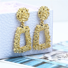 small Vintage Earrings for women gold color Geometric statement earring metal earing Hanging fashion jewelry trend wholesale(China)