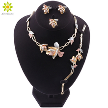 Nigerian Wedding Women Accessories Jewelry Set Brand Dubai Gold Flower Jewelry Set Fashion African Beads Jewelry Set cheap OUHE Zinc Alloy TRENDY CRYSTAL LM-TL410946 PLANT Bridal Jewelry Sets necklace bracelet ring earrings Party Wedding Engagement Anniversary