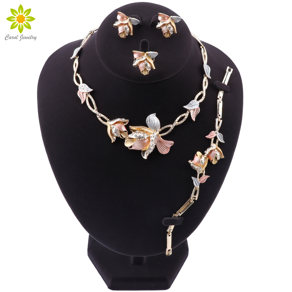 Nigerian Wedding Women Accessories Jewelry Set Brand Dubai Gold Flower Jewelry Set Fashion African Beads Jewelry Set