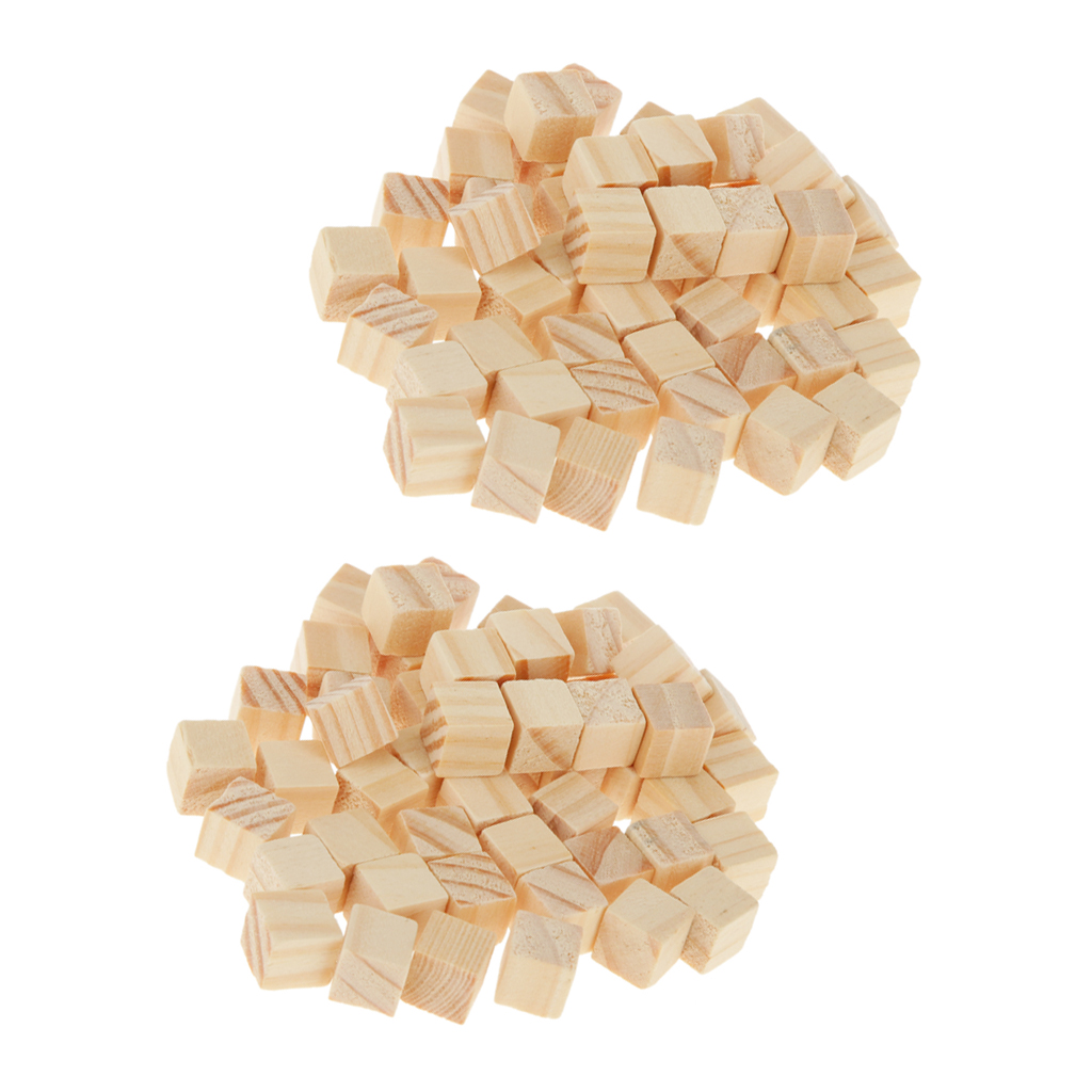 100x Wood Craft Blocks Unfinished Solid DIY Painting Art Supplies for Children Shower Game Puzzle Board Game