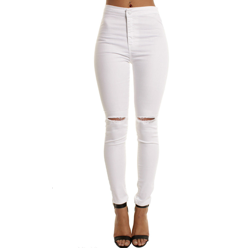 White High Waisted Jeans Skinny Jeans Casual Black Blue Jean For Women Sexy Pants With Holes Faded Ripped Slim Fit