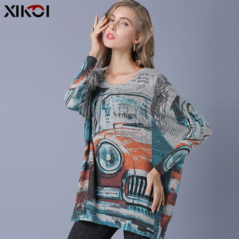 цена на XIKOI Oversize Women Sweater Top Classic Cars Print Knitted Sweater Casual Plus Fashion Pullover For Women Jumper Loose Grey