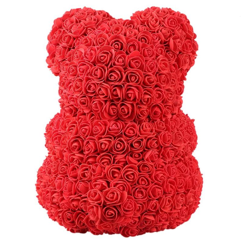 Image 3 - Hot 40cm red flowers Teddy Bear Rose flowers artificial flower rose flower For Women Valentines Wedding Birthday Christmas GiftArtificial & Dried Flowers   -