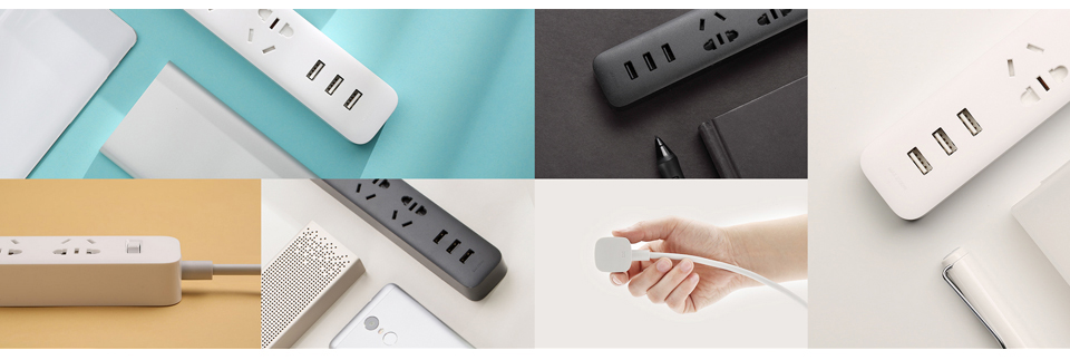 Original Xiaomi Mijia Smart Power Strip 3 2A Fast Charging USB Ports + 3 Sockets Xiaomi Xiaom MI Smart Home Black With Adapter (7)