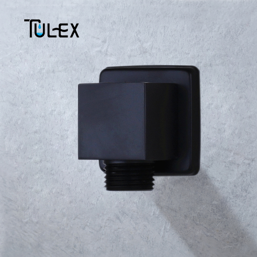 TULEX Black Chrome Shower Hose Connector Square Accessories For Bathroom Brass Body Wall Connector Bracket For Shower Hose