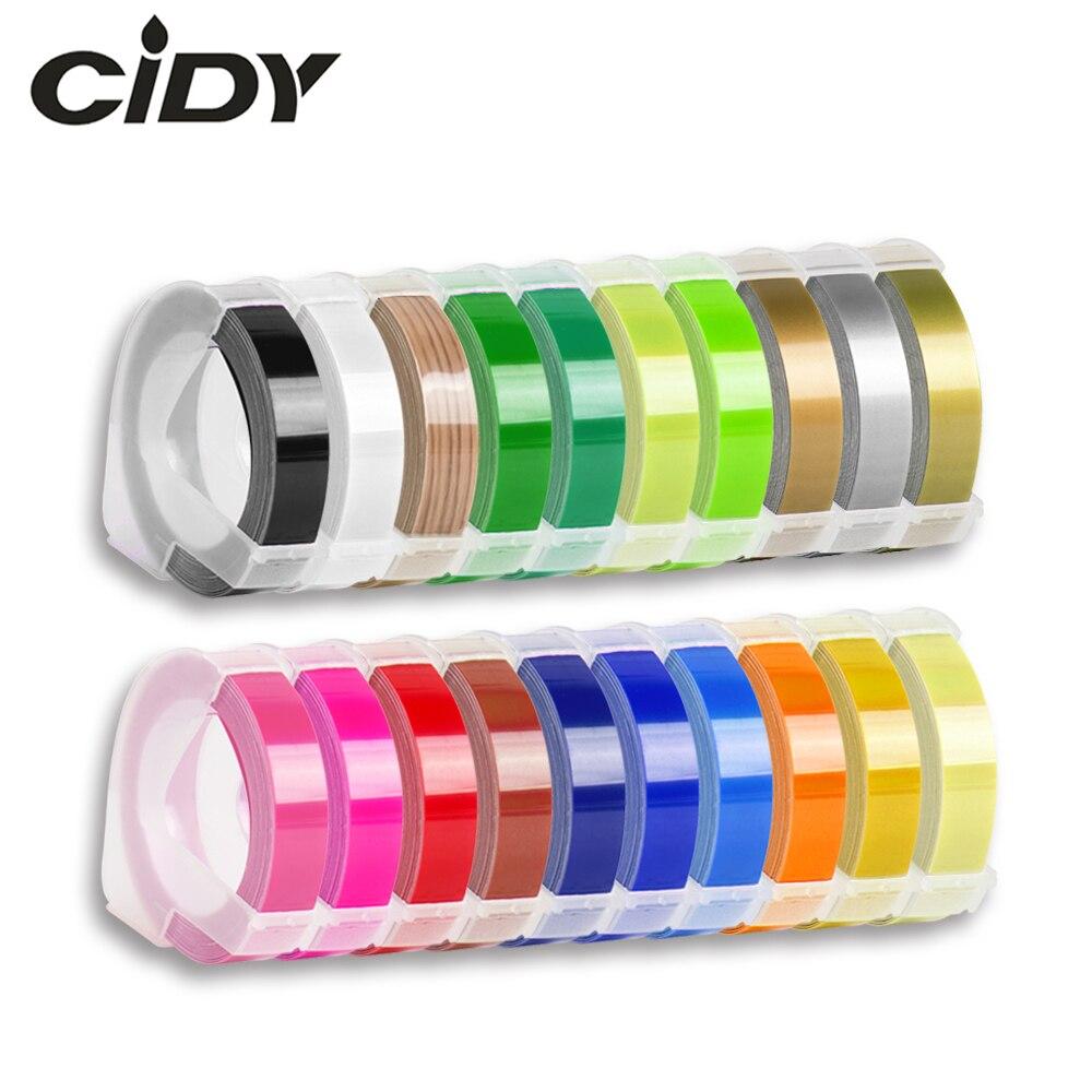 CIDY 1 stücke 9MM 6MM 12MM Dymo 3D Kunststoff Präge Band für Präge Label Maker PVC LABEL DYMO 1610 12965 1880 1540 Motex E101