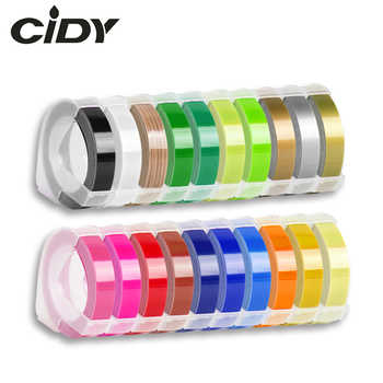 CIDY 1pcs 9MM 6MM 12MM Dymo 3D Plastic Embossing Tape for Embossing Label Maker PVC LABEL DYMO 1610 12965 1880 1540 Motex E101