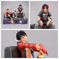 Anime One Piece GK Tide brand Three Brothers Luffy/Ace sofa Male group PVC Action Figure Collectible Model Toy Christmas Gift
