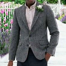 Aesido повседневный мужской пиджак, приталенный смокинг для выпускного вечера, твидовый шерстяной пиджак с узором в елочку, Свадебный Жених для мужчин