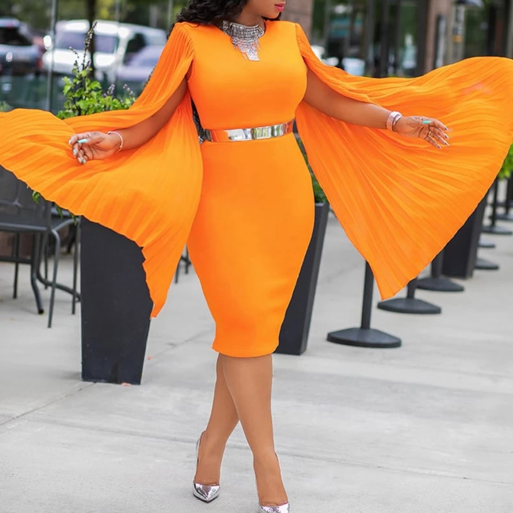 Orange Pleated Shawl Sleeveless Cocktail Party Dress Women Bodycon Dinner Dress Spring Back Split Pencil Mid Dress