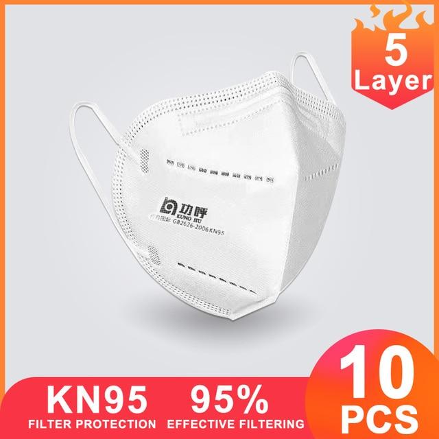 10 pcs KN95 FFP3 Hygien Face Masks Protective N95 Mouth Cover Mask Filter PM2.5 Flu Health Disposable Laye Mask masque ff  k95