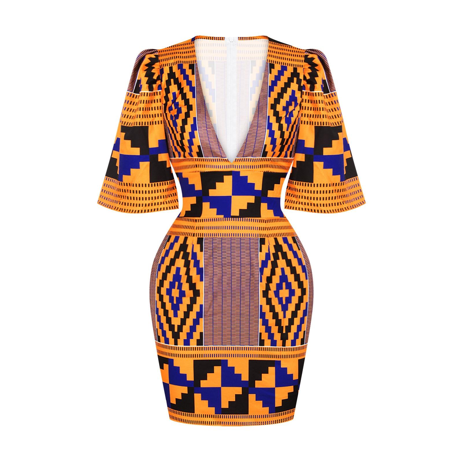 African Short Sleeve Printing Dress 4