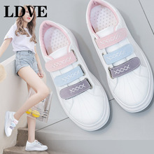 2019 Women Sneakers For Summer Thick Bottom Flat Heel Hook Loop Female White Shoes Leather Air Mesh Cloth Breathable Shoes 35-39 цены