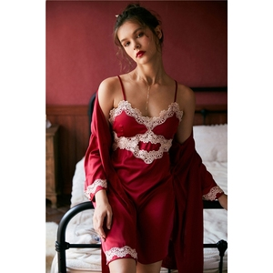 Image 1 - JULYS SONG 2020 Womens New Faux Silk 2 Piece Pajamas set  Ladies Lace Sexy Summer Spring Sling Nightgown Robe Home wear