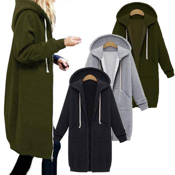 2020 Plus Size Solid Color Casual Thicken Hooded Women Zip Up Long Sweater Coat